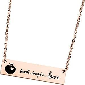 KUIYAI Teach Inspire Love Hand Stamped Teacher Necklace Bracelet Teacher Appreciation Gift