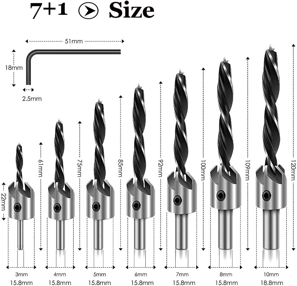 3 Pieces Countersink and Deburring Drill Bits Metal Chamfer Drilling Tool for 1//4 Hex Shank Screw