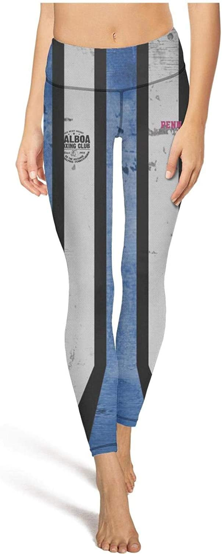 medssii Womens Yoga Pants Philadelphia Pennsylvania 80s Boxing Tummy Hips Yoga Leggings with Pockets