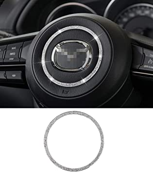 TopDall Steering Wheel Bling Rose Gold Crystal Shiny Diamond Accessory Interior Sticker for Hyundai