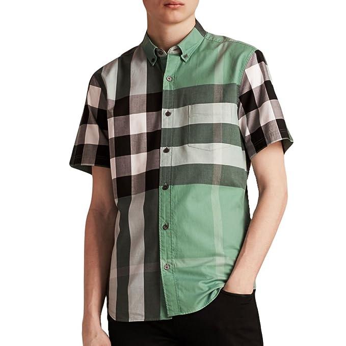 61c4ef70d Burberry Brit Men's Fred Aqua Green Check Shirt (Large): Amazon.ca ...