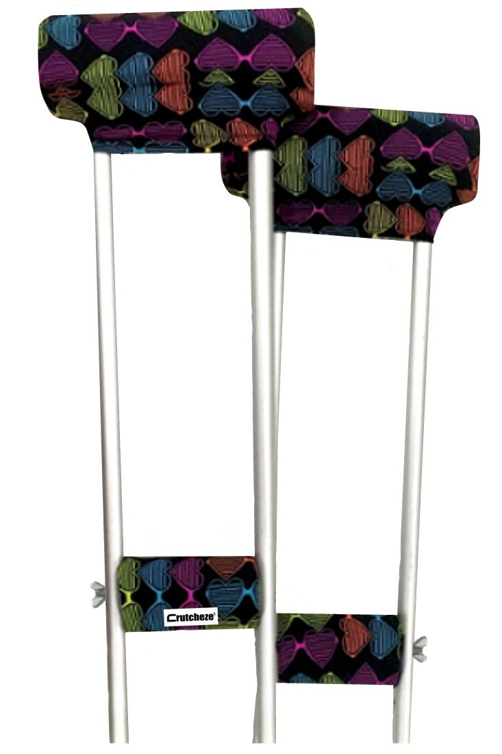 Crutcheze Love It Crutch Pad Set - Underarm & Hand Grip Covers with Comfortable Padding - Crutch Accessories Made In USA (2 Armpit, 2 Hand Cushion)