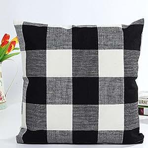 Retro Grid Home Body Pillowcases,Highpot Simpel Style Square Cushion Cover Sofa Chair Car Home Decor (Black/B)