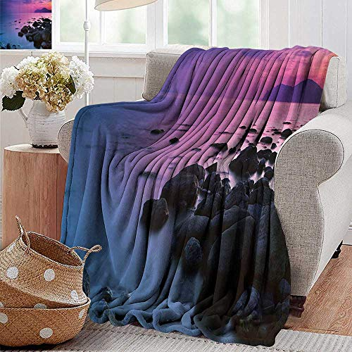 Flannel Throw Blanket,Room Decorations Collection,Sunset over a Rocky Coast Seashore Seaside Hill Honeymoon Vacation Resort Picture,Blue Purple,Super Soft and Warm,Durable Throw Blanket 30