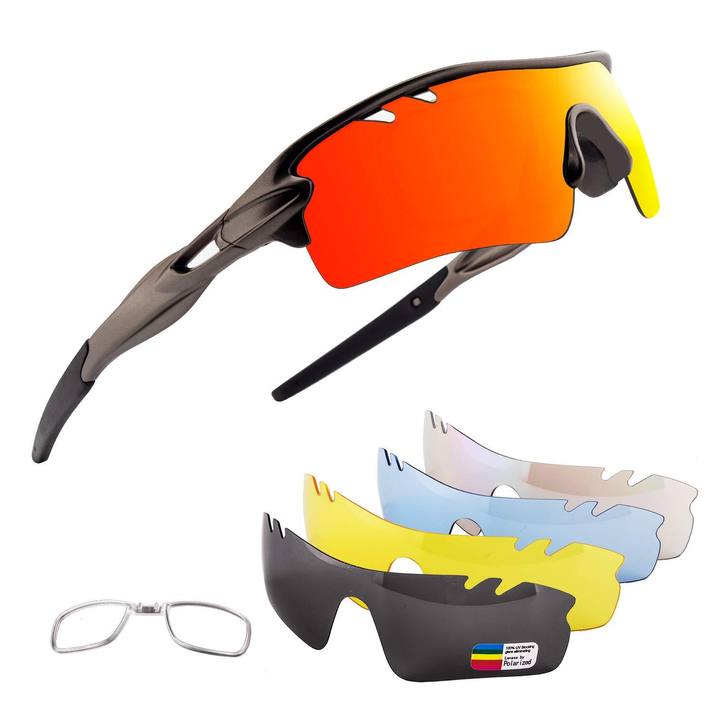 OULIQI Men Polarized Sports Sunglasses with 5