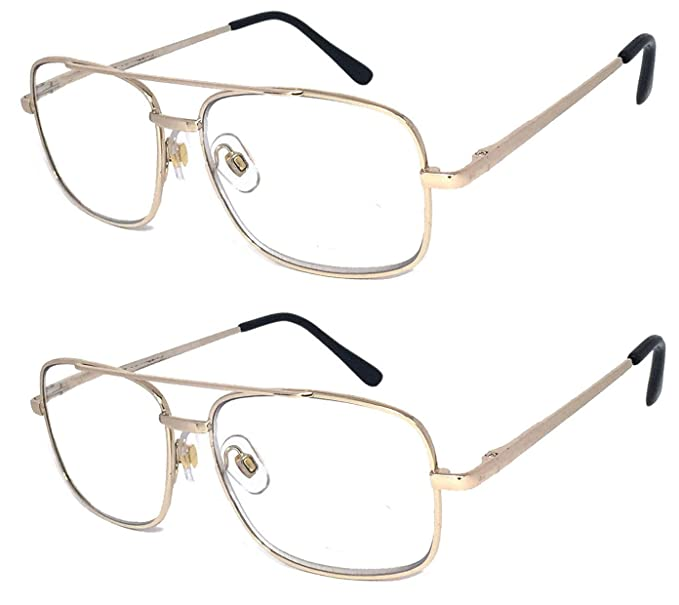 288d6fd9a6eb V.W.E. 2 Pairs Metal Frame Aviator No Line Progressive Clear Lens Spring  Hinge Reading Glasses