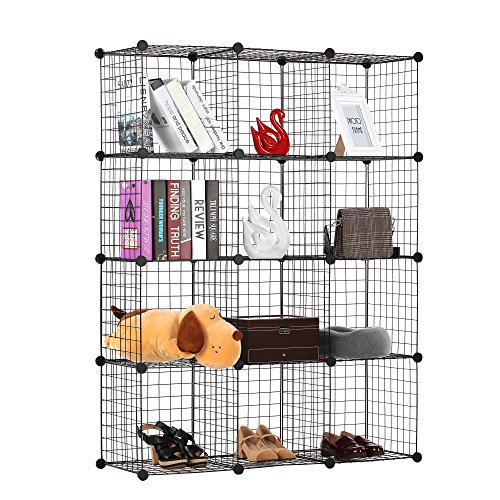 12 Display Cube (BASTUO 12 Cubes Wire Grid Storage Cabinet DIY Metal Bookcase Shelves Modular Cubes Organizer,Closet for Toys,Books,Clothes,Black)
