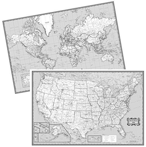 CoolOwlMaps United States & World Wall Maps Black & White - W36