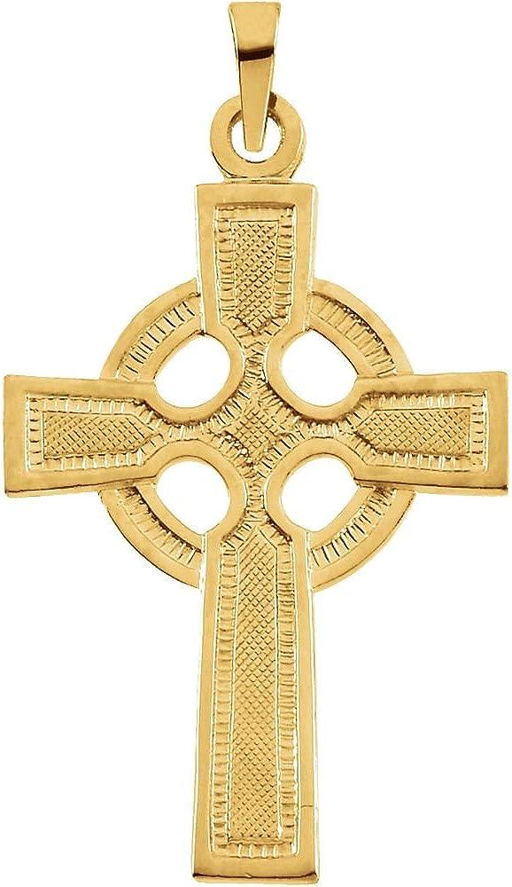 FB Jewels 14K Yellow Gold 23X16 mm Polished Celtic Cross Pendant