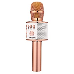 BONAOK Wireless Bluetooth Karaoke Microphone,3-in-1 Portable Handheld Karaoke Mic Speaker Machine Home Party Birthday Graduation Gift for iPhone/Android/iPad/Sony/PC/All Smartphone(Rose Gold)