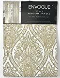 Tahari Home Envogue French Amelia Damask Paisley Medallions Pair of Curtains 2 window panels Extra Long 50 by 96-inch Designer Drapery (Gold White) For Sale