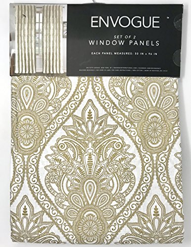 Tahari Home Envogue French Amelia Damask Paisley Medallions Pair of Curtains 2 window panels Extra Long 50 by 96-inch Designer Drapery (Gold White)