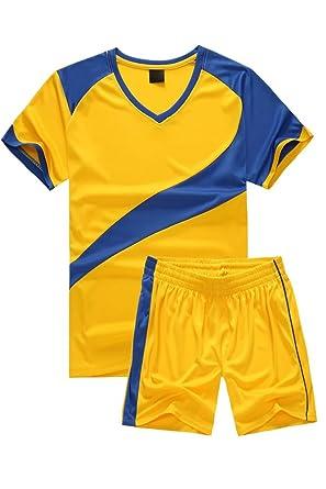 BOZEVON Hombres Niño Trajes de Fútbol Ropa Deportiva Conjunto de Camiseta y Pantalones Cortos Traje de Competencia de Entrenamiento Deportivo