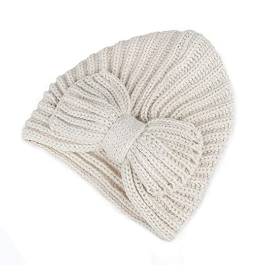 dbc4737077a Image Unavailable. Image not available for. Color  URIBAKE Women s Baggy  Warm Crochet Winter Wool Knitting Ski Ladies  Caps Bowknot Hat