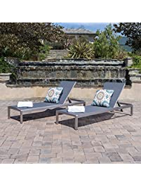 Crested Bay Patio Furniture Outdoor Mesh Chaise Lounge (Dark Grey) (Qty Of 2