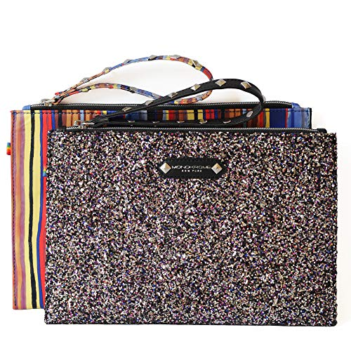 Floral Embroidered Flat Geometric Pouch Purse Wristlet Clutch Ladies