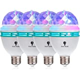 4 Pack Color Rotating Bulb E26, RGB Color Changing Party LED Bulbs Colored LED Strobe Light Bulb Multi Crystal Stage…