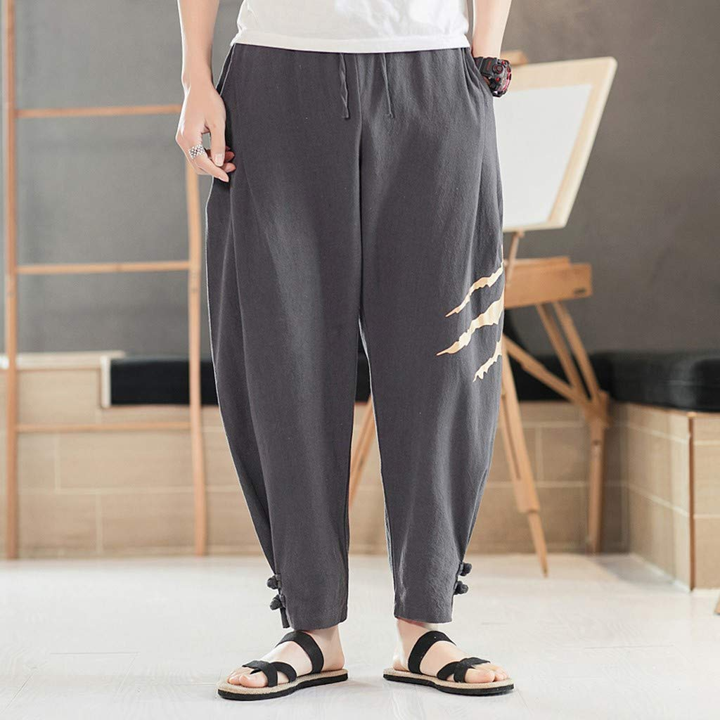 Allywit Men's Printed Claw Graphic Baggy Harem Capri Loose Fit Linen Pants with Pockets Big and Tall Dark Gray by Allywit-Pants (Image #2)