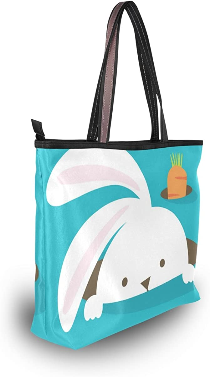 My Daily Women Tote Shoulder Bag Bunny Rabbit Carrot Happy Easter Handbag