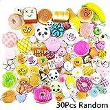 Winmi Random 30pcs Squishy Food Toys Mini Soft Cake/Panda/Bread/Ice Cream/Multi Dounts Phone Charm Straps for Kids Toy,Key Chain,Christmas Gift and Birthday Party