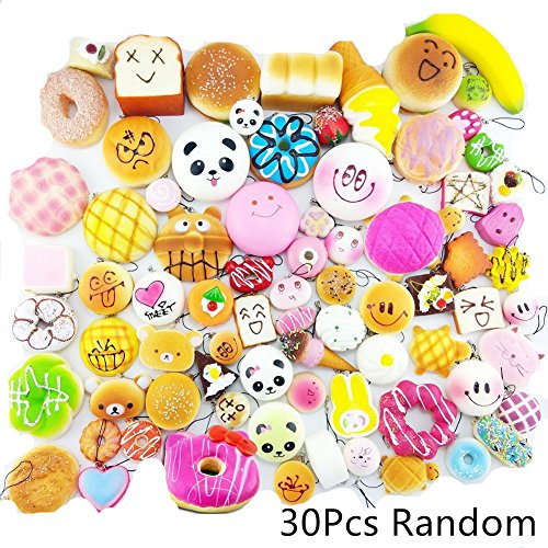 Winmi Random 30pcs Squishy Food Toys Mini Soft Cake/Panda/Bread/Ice Cream/Multi Dounts Phone Charm Straps for Kids Toy,Key Chain,Christmas Gift and Birthday Party by WINMI