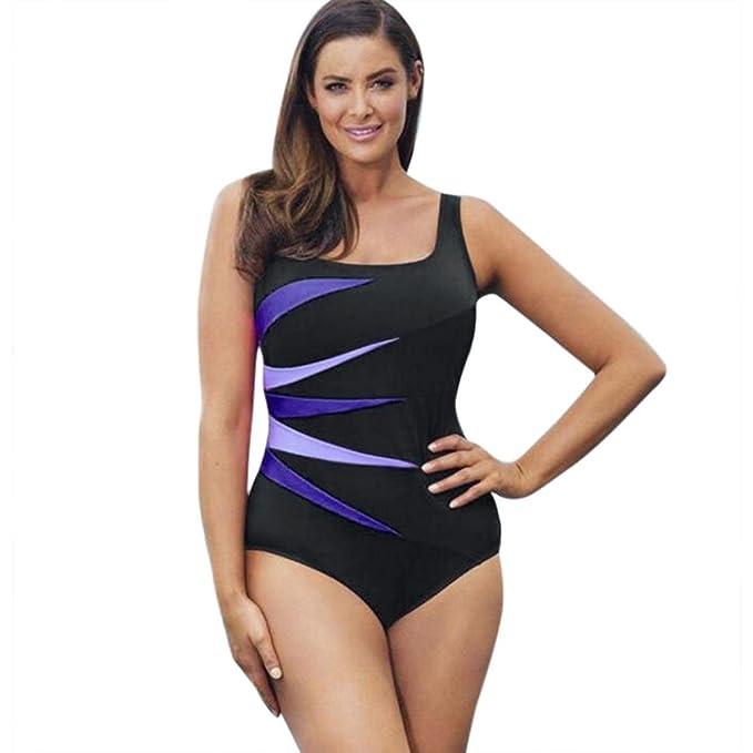 Minisoya Women s One Piece Swimwear Plus Size Tankini Swimsuit Printed  Bodysuit Bathing Suit Beachwear Monokini ( 52b3fd4fd715