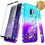 Galaxy S9 Plus Case w/ [Full Coverage Screen Protector HD], NageBee Glitter Quicksand Liquid Shiny Sparkle Flowing Bling Diamond Luxury Girly Clear Cute Case For Samsung Galaxy S9 Plus -Aqua/Purple