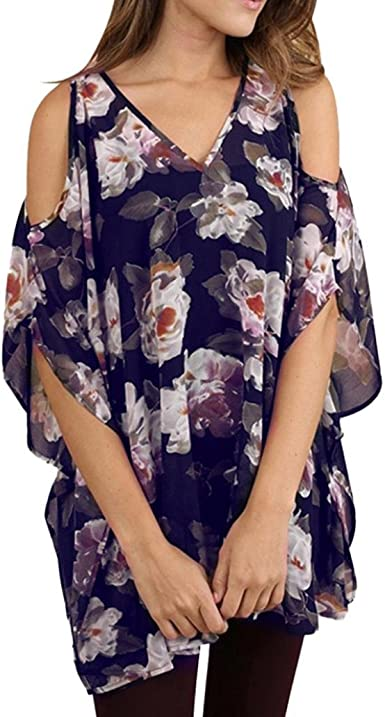 Fashion Women Casual Floral Half Sleeve Cotton T-Shirt Blouse O-Neck Tops Shirts