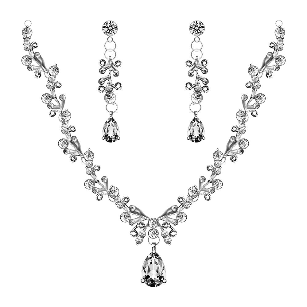 Womens Pear Drop Crystal Bridal Jewelry Sets Earrings Necklace Wedding Sets Silver Tone by Formissky-sisa