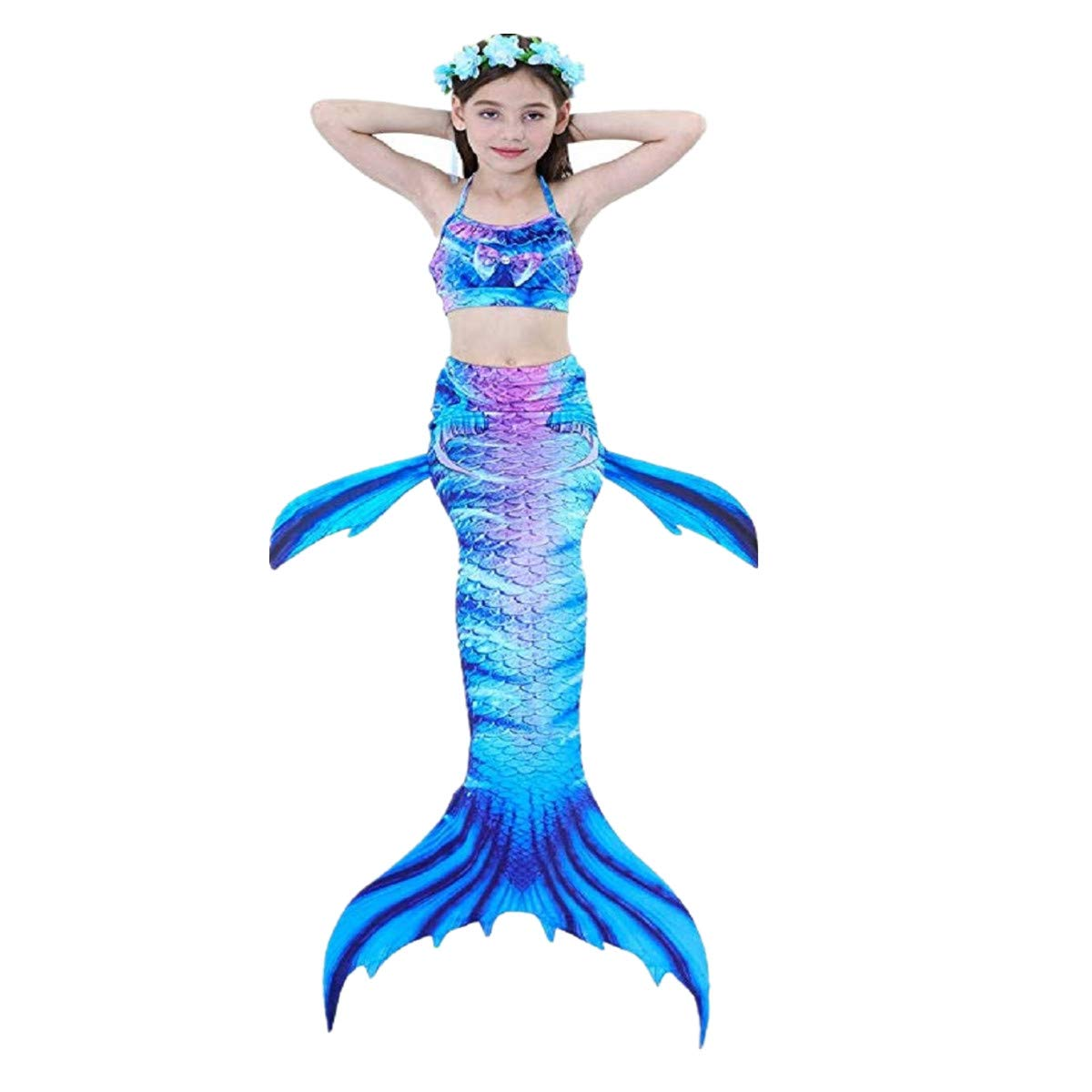 Girls Swimsuit Mermaid Tails for Swimming Princess Bikini Bathing Suit Set (3-12 Years)