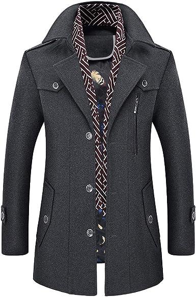 Manteaux Homme ADESHOP Mode Hommes Trench Coat en Laine Les Loisirs Sport Running Blousons Outwear ÉPaissir Manteau De Laine Affaires Gentilhomme