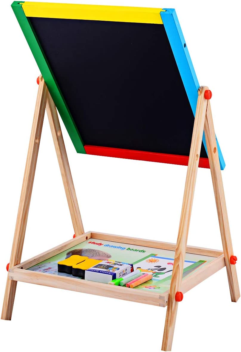 2 in 1 Double Sided Drawing Board with Lower Storage Tray Kids Art Easel Dry Erase Board with Accessories GOFLAME Wooden Easel Height Adjustable Black and White