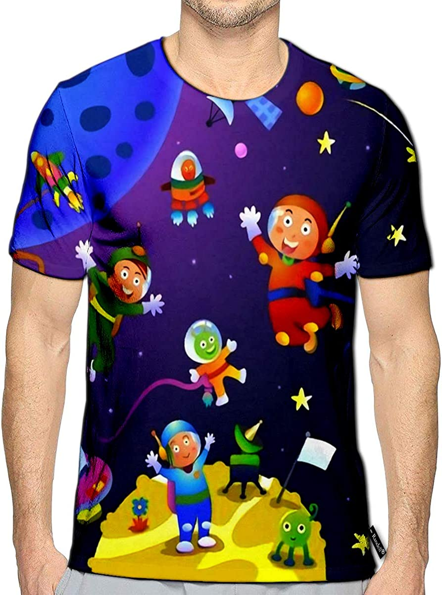 3D Printed T-Shirts Boy Girl Astronaut in Space Scenes Short Sleeve Tops Tees