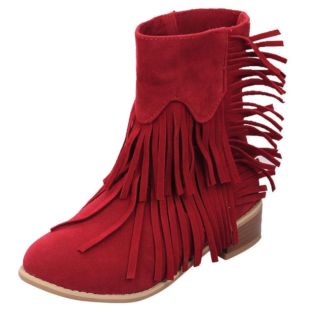 ZHRUI Zapatos de Borla de tacón Cuadrado con Punta Redonda para Mujer Botas para la Nieve de Color Liso con Cordones (Color : Gris, tamaño : 7.5 UK): ...