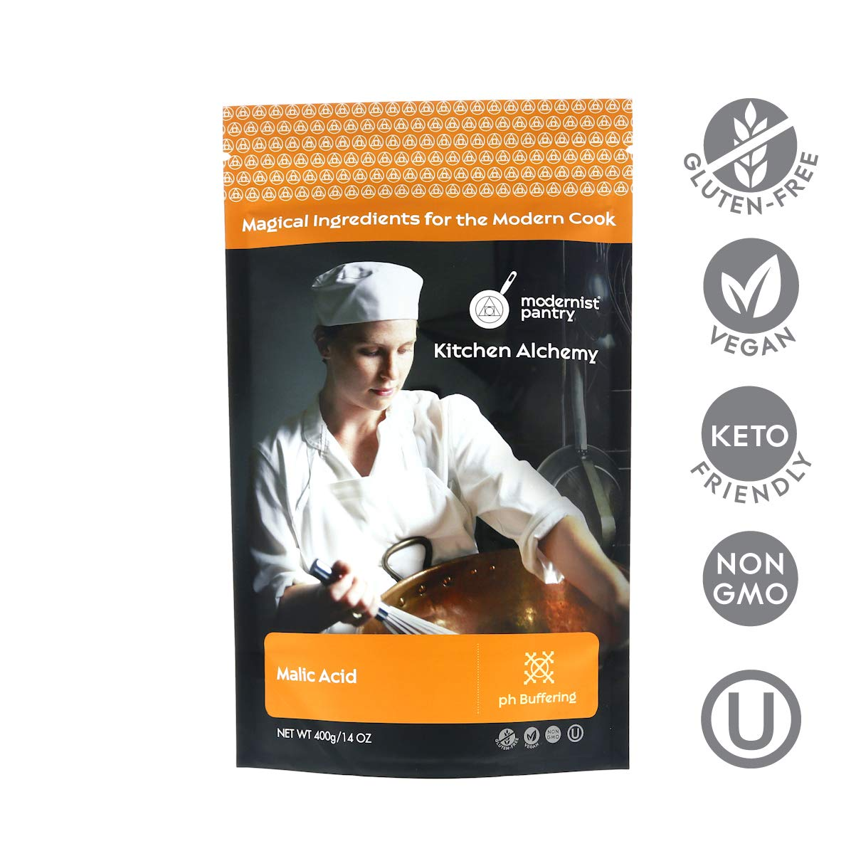 Pure Malic Acid ⊘ Non-GMO ❤ Gluten-Free ☮ Vegan ✡ OU Kosher Certified - 400g/14oz