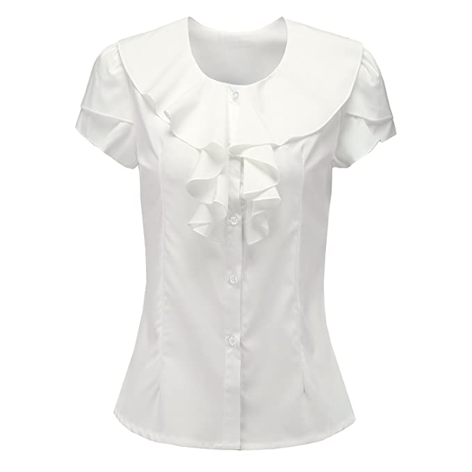 1930s Style Tops, Blouses & Sweaters Shirts For Women Short Sleeves Vintage Victoria Ruffle Y&Z BS07 $15.99 AT vintagedancer.com