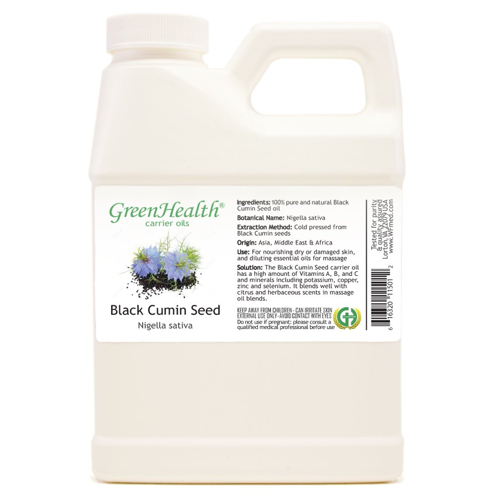 GreenHealth Black Cumin Seed Oil - 16 fl oz (473 ml)- 100% Pure Virgin Cold Pressed