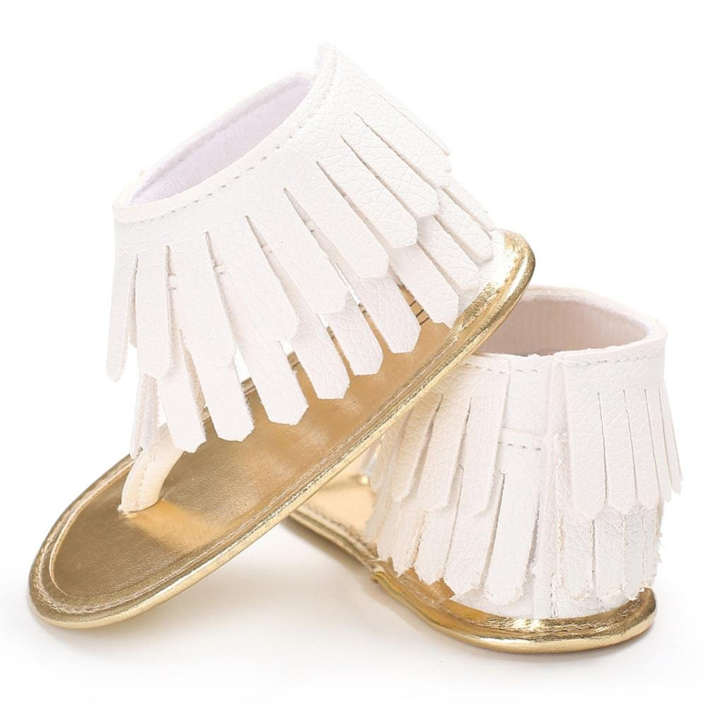 Voberry Toddler Baby Girls Tassel Sandals Soft Soled Anti-slip Fringe Footwear Shoes (0-6 Month, White 1) by Voberry (Image #5)