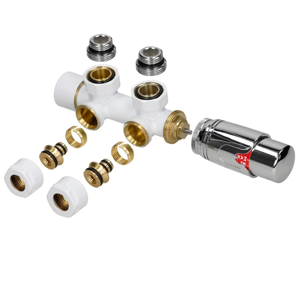 ECD Germany Wandanschlu/ß Anschlu/ßgarnitur Thermostat 50 mm Wei/ß Mittelanschluss Thermostatkopf Ventilhahnblock Ventil f/ür Heizk/örper
