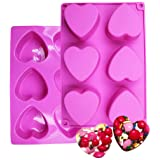BAKER DEPOT 6 Holes Heart Shaped Silicone Mold For Chocolate Cake Jelly Pudding Handmade Soap Mould Candy Making Set of 2