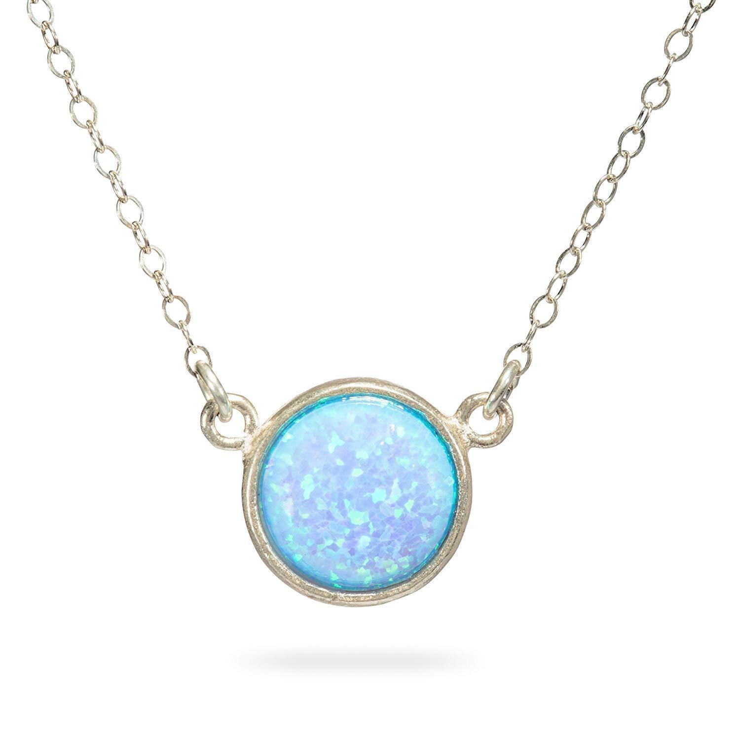 Blue Opal Pendant Necklace Sterling Silver Gemstone Circle 10mm Opal Pendant Length 41 cm/16 inch+5cm Extender