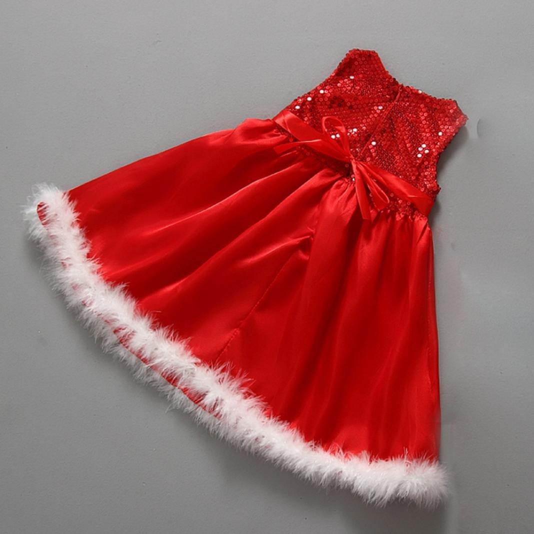 Internet B/éb/é Filles Enfants No/ël Parti Rouge Paillette Tutu Robes de No/ël Coton Robes