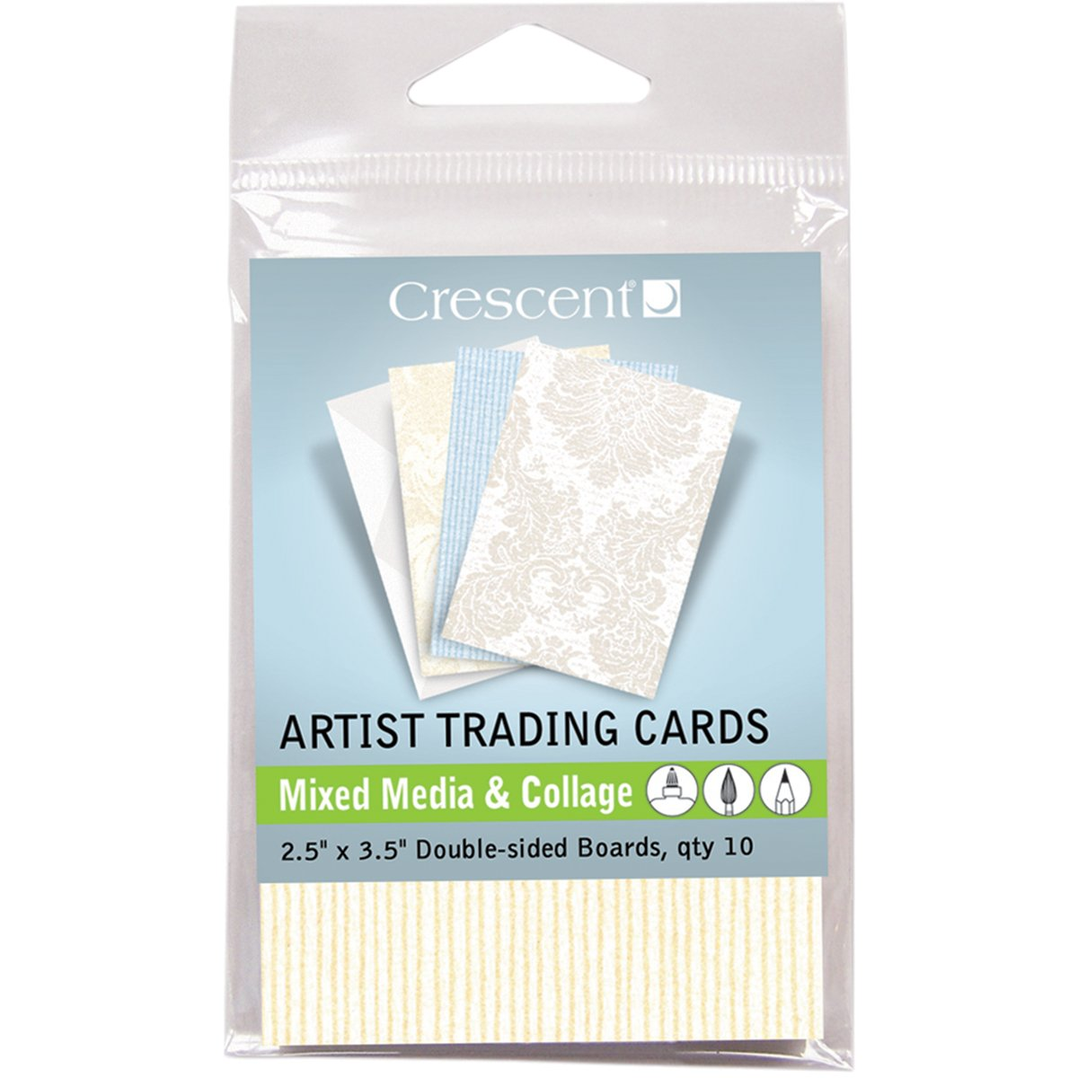 Crescent Cardboard Artist Mixed Media & Collage Trading Cards (10 Pack), 2.5' by 3.5', Vintage Prints
