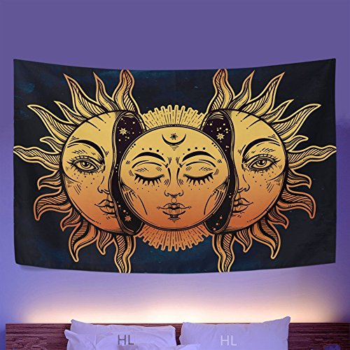 HL Wall Tapestry, Moon and Sun Face Pattern Fabric Wall Tapestry Hanging for Bedroom Living Room Dorm Handicrafts Beach Cover Up Curtain Polyester Wall Decor(60 x 80 Inch, Moon and Sun) by Hongxiu Lighting Direct (Image #5)