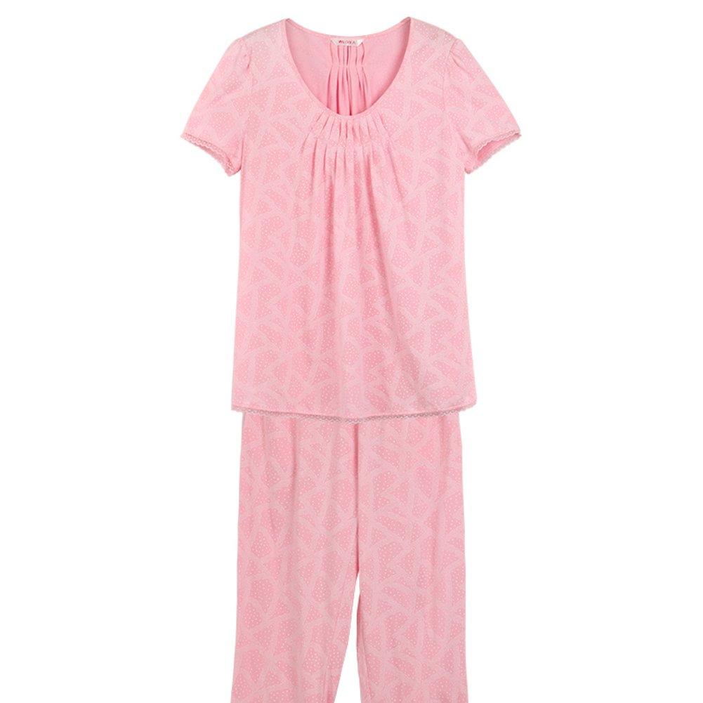 A PLMWQAVDFN Summer Cotton Breathable Women's Pajamas Leisure wear Suit Short Sleeve Pants Pajama Set