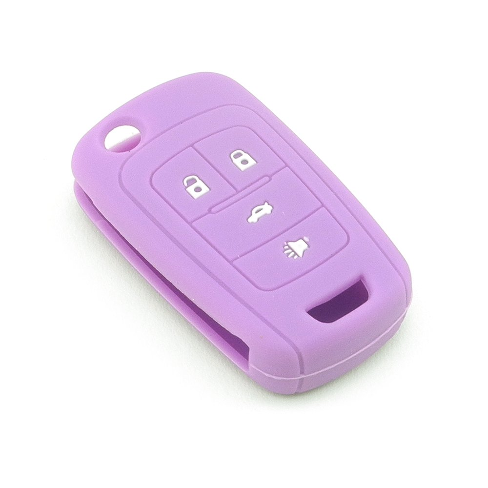 iSaddle Silicone Protecting Vehicle Remote Start Key Case Cover Fob Holder for Chevrolet Camaro Cruze Equinox Malibu Orlando Sonic (Purple Color)