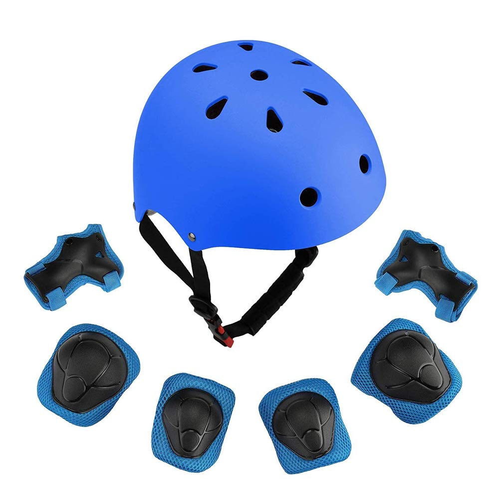 Any-Season-Store 3t Dirtbike Gear 7Pcs Adjustable Protective Set Toddler Children Safeguard Helmet with Knee/Elbow/Wrist Pads