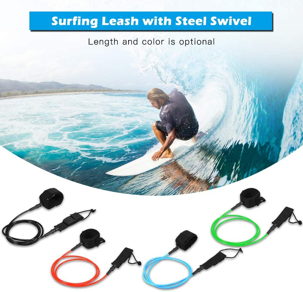 Explopur Surf Leash Surfboard Legrope Smooth Steel Swivel Surfing Leg Rope SUP PU Paddleboard Leash 6FT // 7FT,Green//Blue//Red//Black Optional