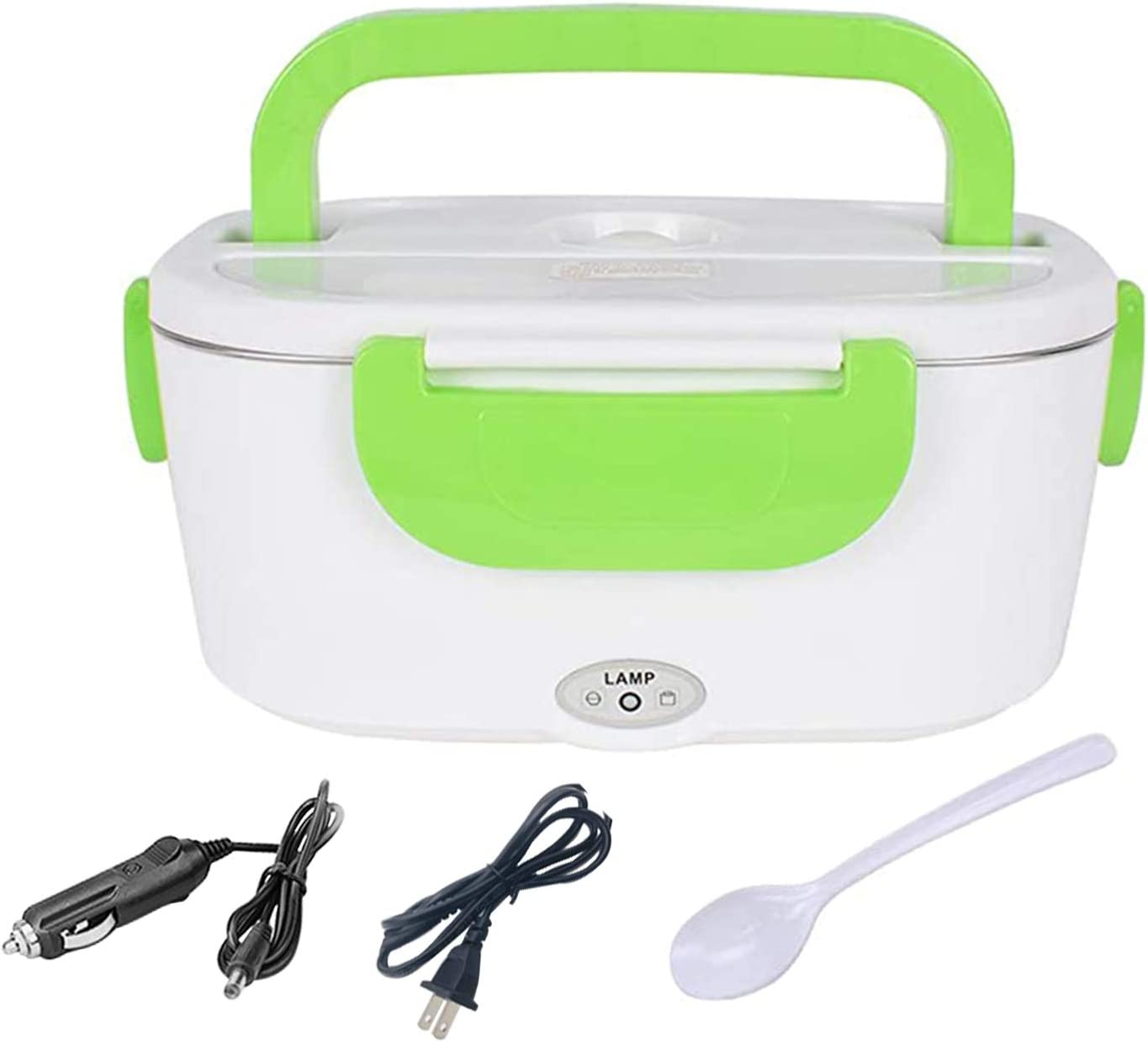 Jukoclut Electric Lunch Box Portable Food Heater Warmer 2 in 1 for Home Car Office Travel Use 12V 110V with Removable 15.L Stainless Steel Container Spoon and 2 Compartments Green