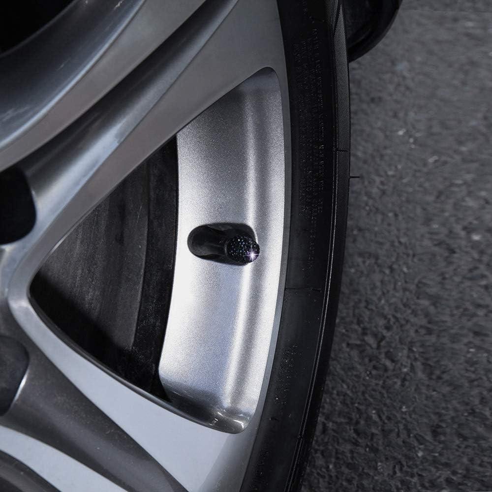 KKmoon 4 Pack Car Tire Valve Caps Diamond Valve Stem Caps Crystal Rhinestone Valve Core Cap New Creative Valve Cap Black